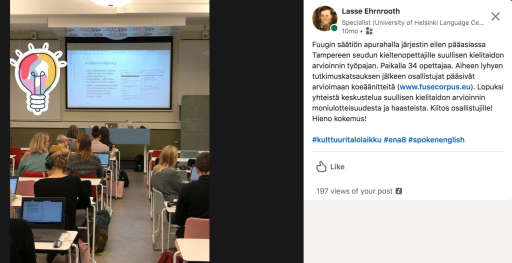 Picture of the FUSE corpus assessment workshop organized in Tampere, Laikku Center.